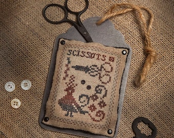 "Kit and Pattern: Tag Trio Cross Stitch  ""Scissors"" by Jeannette Douglas Designs"