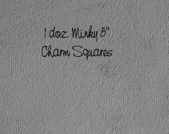 "DESTASH SALE Minky Fabric Cuddle Fleece 5"" Squares, 1 doz. Grey Minky Fleece Charm Squares, Gray Blanket Fleece, Minky Pillow Fabric"