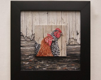 "Original Acrylic Painting of Hens titled,  ""Speckled and Red"""