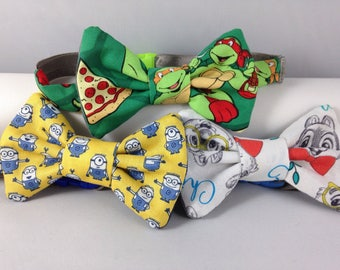 ninja turtles minions or chip and dale boys bow tie neck wear adjustable elastic multiple sizes made to order