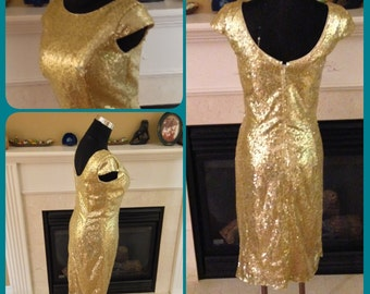 Sequin short dress, sequin bridesmaid dress, gold sequin dress - Clearance