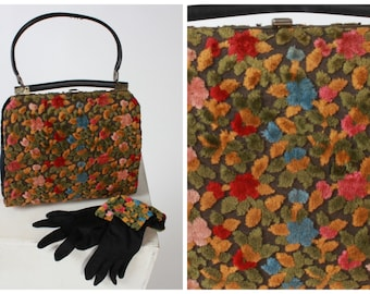 Vintage 1950s 50s original amazing woolen carpet bag handbag and matching gloves with woolen cuffs