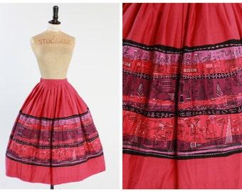 Vintage original 1950s 50s novelty print skirt AAA Lamartine le Gullon Egyptienne Egyptian print skirt UK 6 US 2 xs s