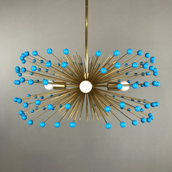 Turquoise Beaded Gold Urchin Chandelier Lighting