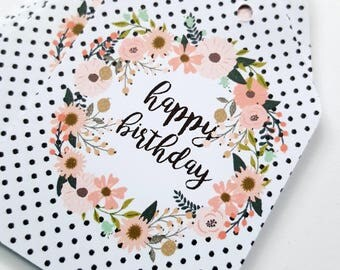 Happy Birthday Gift Tags x 12 / Floral Wreath Gift Tags