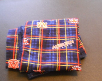 University of Auburn Tigers baby or small lap blanket plaid with navy minky silky soft minkee