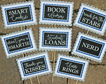 GRADUATION CANDY BUFFET, Candy Bar Labels, Grad Candy Bar, Graduation Food Labels, Graduation Supplies, Class of 2017, Blue and White.