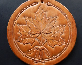 "6"" Oak Leaves Carved Wood Wall Plaque Canada Home Decor"
