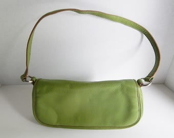 Wilsons Vintage Leather Soft Green Textured Purse Shoulder Handbag