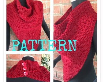 Cowl on Pointe Worsted Weight Knit PATTERN ONLY Bandana Style Cowl