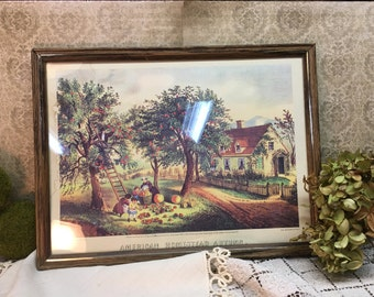 Vintage Currier & Ives Picture/American Homestead Autumn/Framed