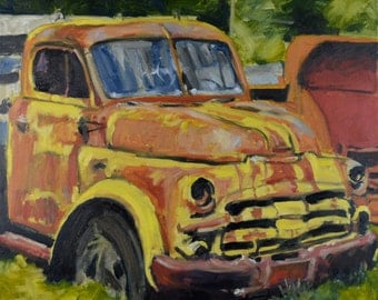 Original Oil Painting, Old Farm Truck, by Robert Lafond