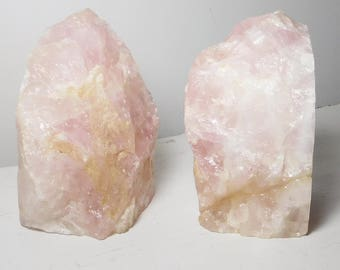 Solid Rose Quartz Geode Bookends Gemstone Crystals Wedding Gifts Anniversary Gifts Natural Trendy Office Patio Decor Home Birthday Gifts