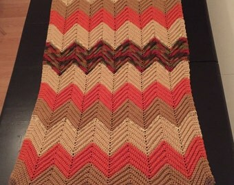 Vintage Hand Knit Throw Blanket - Retro Blanket