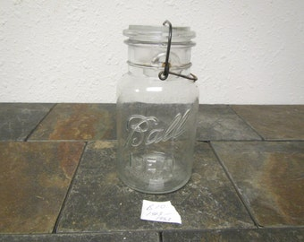 Clear Glass BALL IDEAL JAR, glass cover and wire bail: quart jar, July 14, 1908 patent ,8 on jar bottom , canning jar * 1923 - 1933  * #B-10