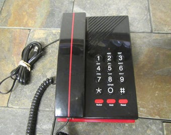 Vintage  1980s push button Telephone , table phone , Desk phone * Land line Phone # TM-321  * Taiwan phone