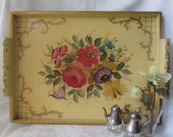 Vintage Hand Painted Wooden Tray, Tole Folk Art Serving/Breakfast Tray