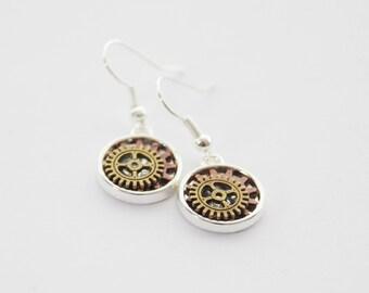 Steampunk Earrings, Gear Earrings, Mechanic Earrings, Steampunk Jewelry, Gear Jewelry, Steampunk Cosplay, Cyberpunk Earrings