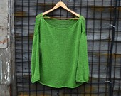 RESERVED * Loose fit sweater Green sweater women Handknit Drop Shoulder Sweater Cotton top hand knitted jumper Women knitwear Open knit swe