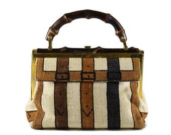 Vintage ROBERTA DI CAMERINO fabric bag with bamboo handle