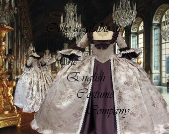 Heavy brocade and taffeta Versailles Marie Antoinette colonial gown. Fully boned for uplift