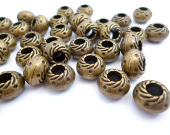 Solid Bronze Large Hole Metal Beads_CPCA801475624/BEADS/PA_Bronze points of 9,5x6 mm_ hole 4 mm_ pack 15 pcs