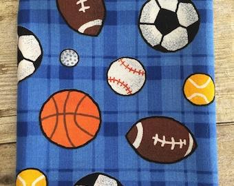 Sports Balls, Basketball, Baseball, Football, Soccer Ball on Blue Fabric--Fat Quarter