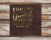 Brown Rustic Wedding Beverage Or Luncheon Napkins, 100 Personalized Brown Napkins, You Are My Greatest Adventure