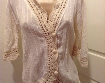 Vintage Crochet Gauze Hippie Top Boho Festival Md India