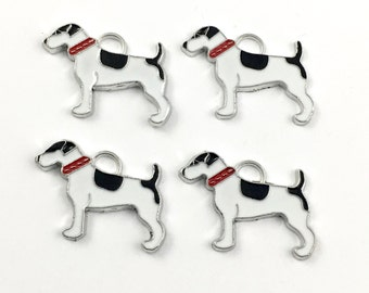 4 dog charms enamel and silver tone, 20mm  # CH 593