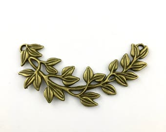 2 leaves connector bronze tone, 90mm #CON 153