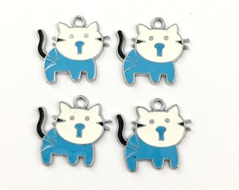 4 cat charms blue enamel and silver tone 24mm  # CH 531