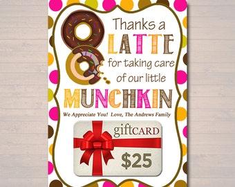 EDITABLE Thanks a Latte Coffee Donut Gift Card Holder, Printable Teacher Appreciation, Daycare Teacher Gift Babysitter Gift INSTANT DOWNLOAD