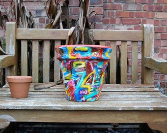 Example - Beautiful, large terracotta pot painted with acrylic paint