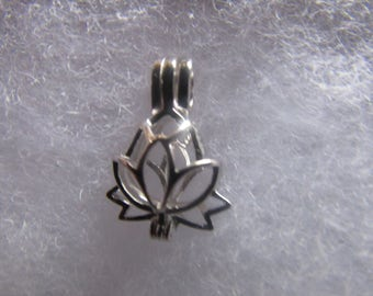 Silver Tone   Lotus Pearl Cage/Charm/Locket pendant for necklace or charm bracelet