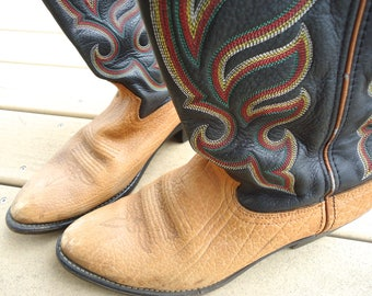 Men's Cowboy Boots, Durango Brand Western Boots, Tan and Dark Brown Two Tone Man's Boots,Size 10.5D,Vintage Cowboy Boots,Two Inch Cuban Heel