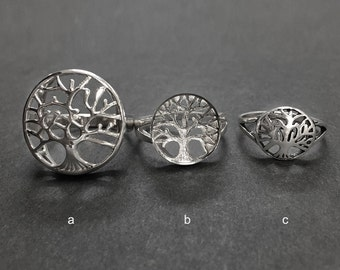 925 Solid Sterling TREE OF LIFE Ring-Symbol Ring-High Polish-Oxidized