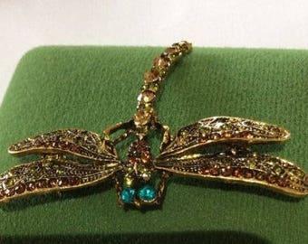 gold tone rhinestone encrusted dragonfly brooch