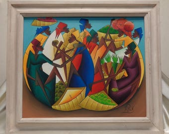 Signed African Women & Fruit Vintage Oil Painting in White Vintage Wood Frame