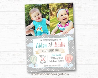 Twins Hot Air Balloon Invitation, Boy Girl Twins Birthday Invitation, Time flies Invitation, DIGITAL FILE