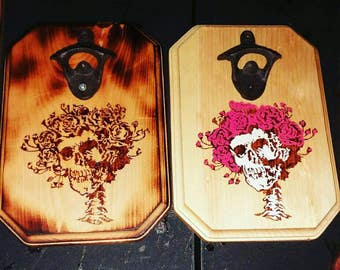 Wood Burned Bottle Opener Plaque, Grateful Dead, Bertha