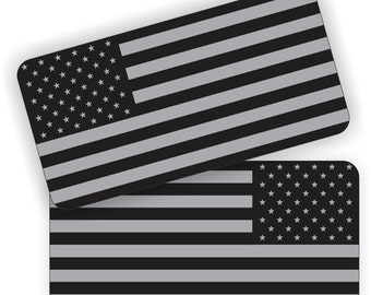 "Pair - American Flags Black Ops Stealthy - 2"" x 1"" Full Color Printed Vinyl Stickers - Hard Hat - Helmet - Phone - Laptop - Etc."