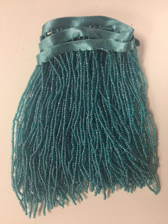 By The Yard 6 5 Quot Turquoise Blue Seed Bead Beaded Fringe