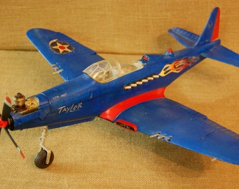 Vintage Cox Gas Engine Control Line Airplane, 1960's Cox Gas Flying Airplane, control line cox toy plane complete with gas engine