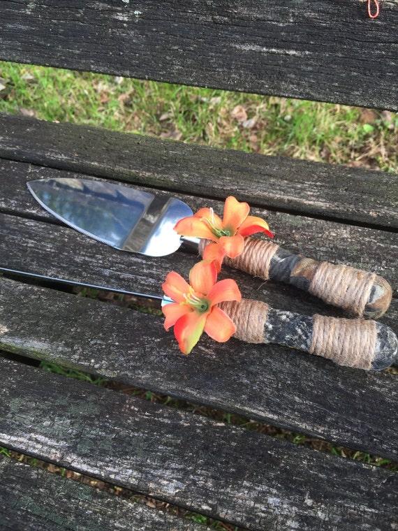 Items Similar To Camo Wedding Cake Knife Set Orange Lily