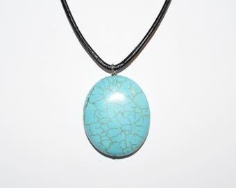 Large Sized Circle Turquoise Necklace, Leather Necklace, Turquoise Rocks, Gem Stones, Circle Shaped Stones