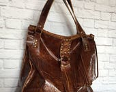 Distressed Rustic Leather Tote / Brown Leather Tote / Rustic Leather Tote / Leather Tote Bag / Distressed Leather Tote