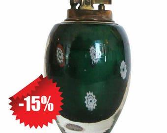 Mid Century Modern Green Murano Glass & Brass Table Lighter W/ Copper Striker