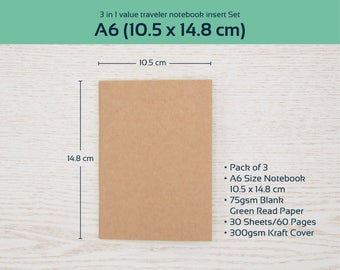 A6 Inserts, A6 Blank Notebook Set of 3 Kraft Cover for Writing Journal, Midori Travelers Notebook, A6 Insert, A6 Size Bulk Notebook