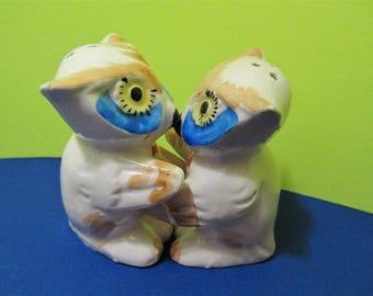 Vintage Ceramic Owls Birds Salt & Pepper Shakers Japan Animals #839